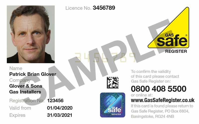 Gas Safe Registered engineer ID card