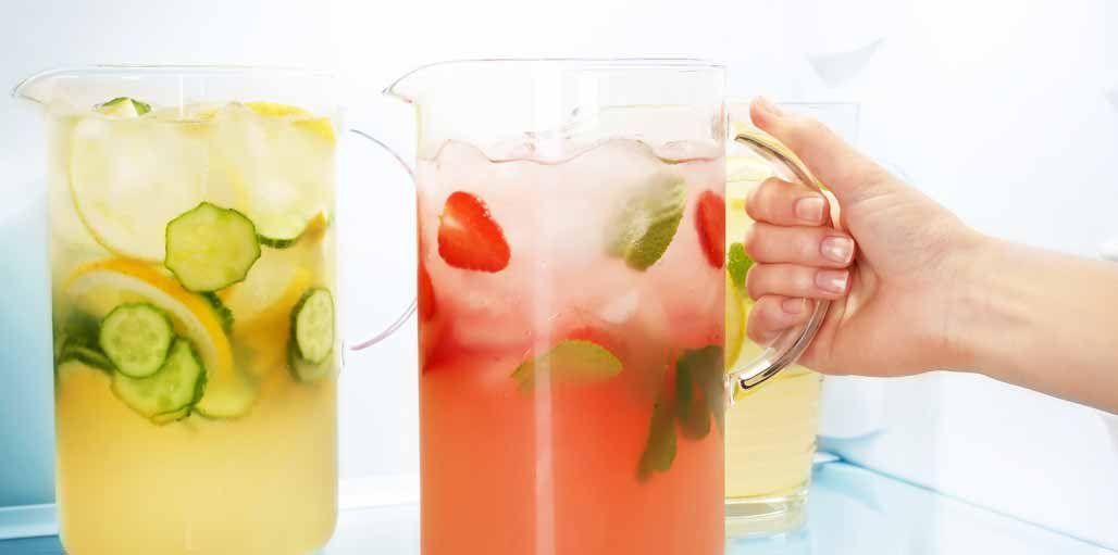 Water jugs with fruit infused - in fridge