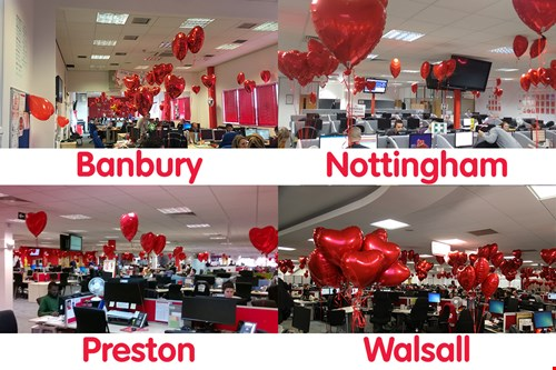 HomeServe sites with red valentines balloons dotted around.