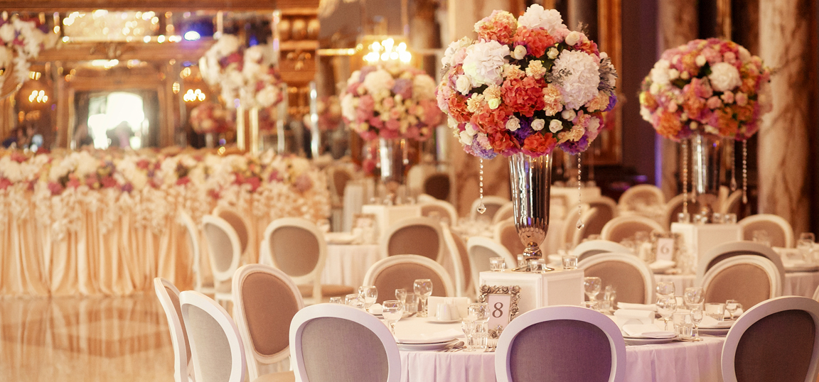Beautiful wedding venue with tall flowers
