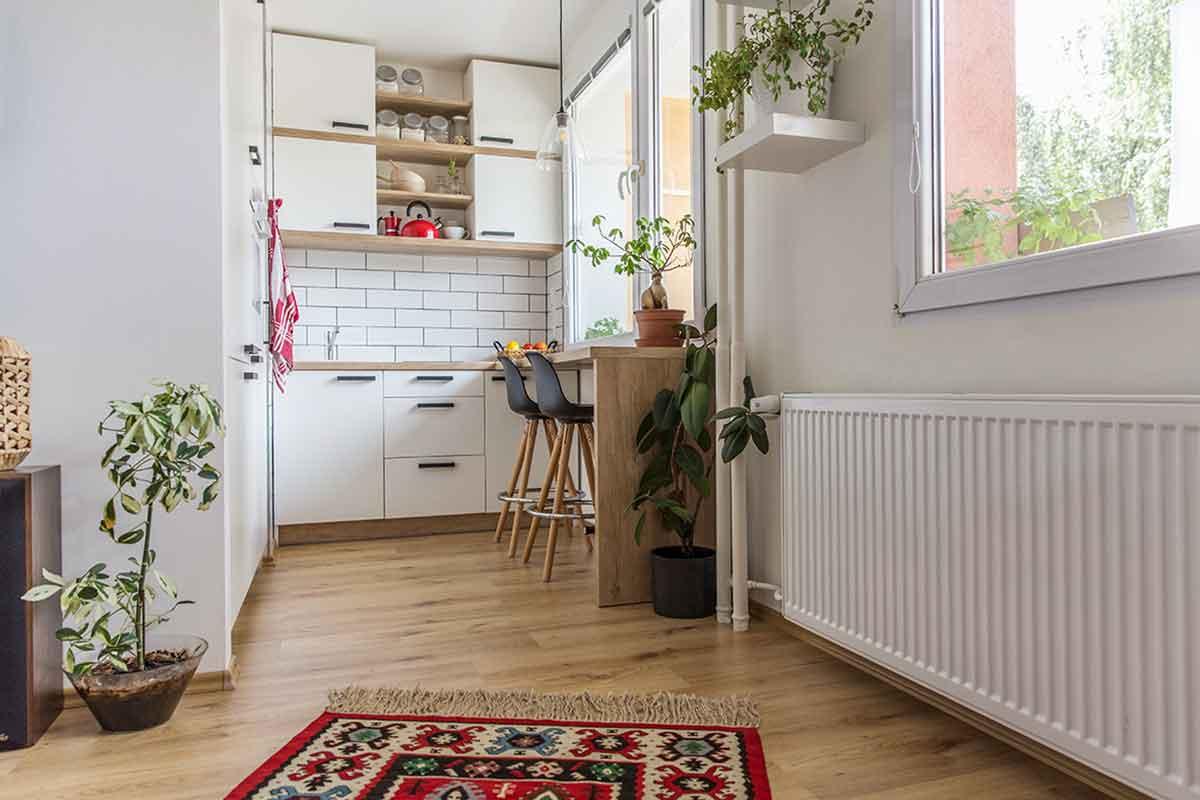 Radiator in a kitchen