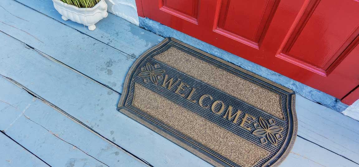 Welcome mat outside front door