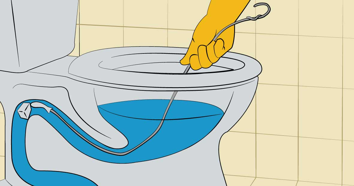 unblocking a toilet with a coat hanger