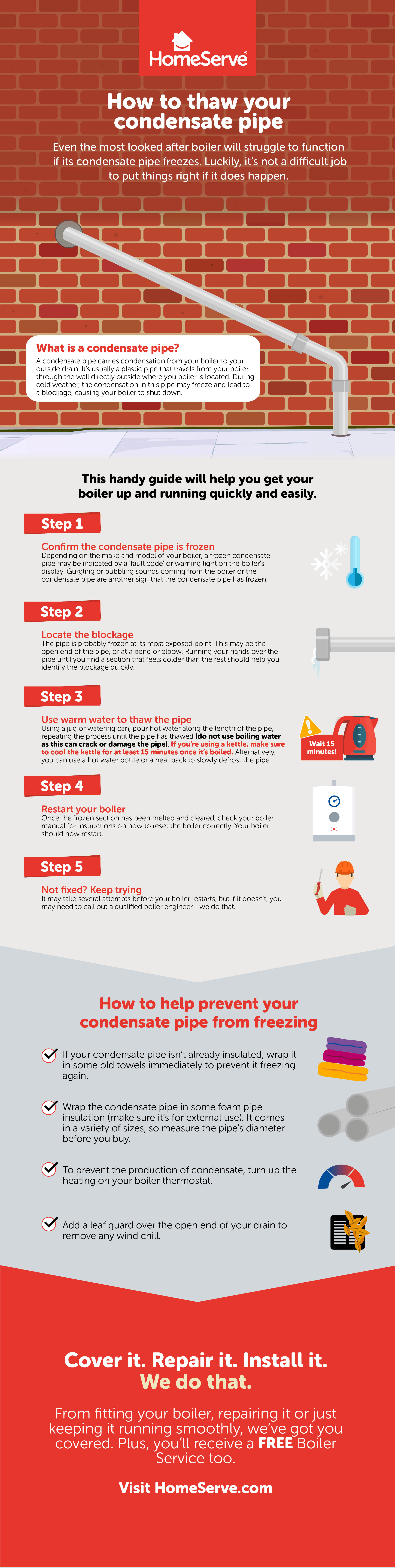 How to thaw a frozen condensate pipe infographic